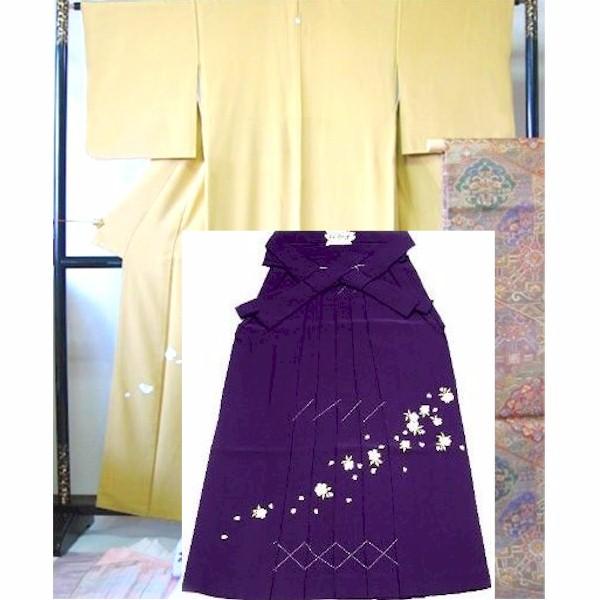 袴レンタル|卒業式|薄めの茶地・正絹&刺繍袴|No.100-002