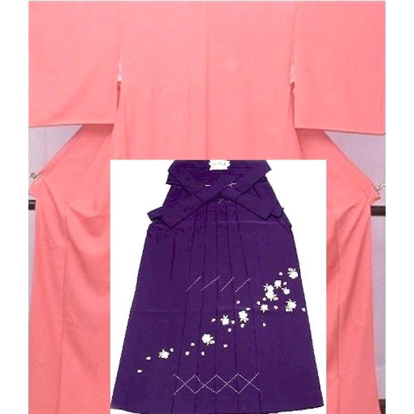 NEW!掲載|色無地・正絹・地模様・ピンク&刺繍袴|No.100-003