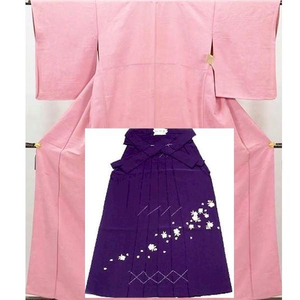 色無地・化繊・ピンク地&刺繍袴|No.100-004