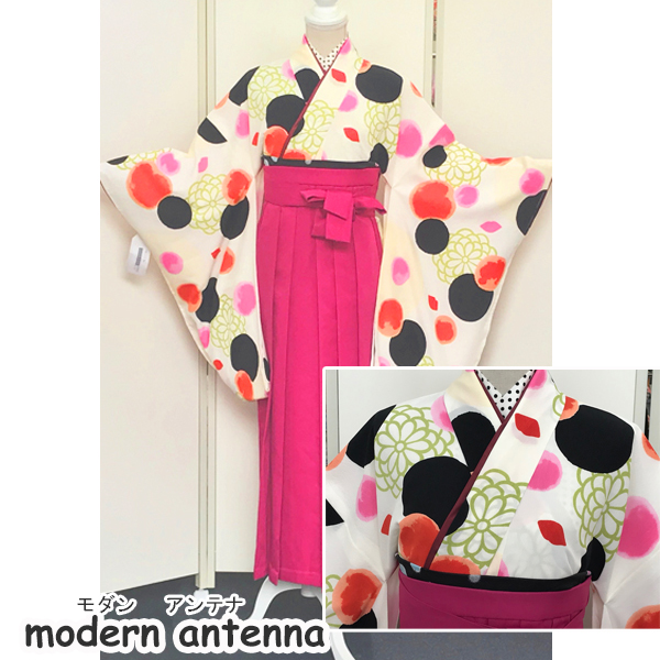 新品入荷|オフホワイト地モダンで斬新な着物&袴No.100-160