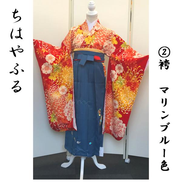 ちはやふる×Japanstyle|ちはやふる・和菊柄振袖&マリンブルー刺繍袴袴|100-162-1
