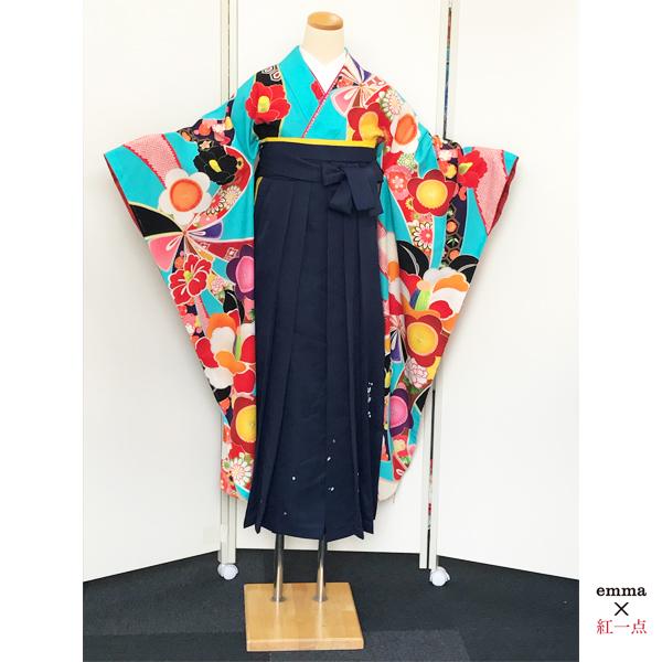 emma×紅一点|水色地・斬新な和柄振袖&袴|No.100-163