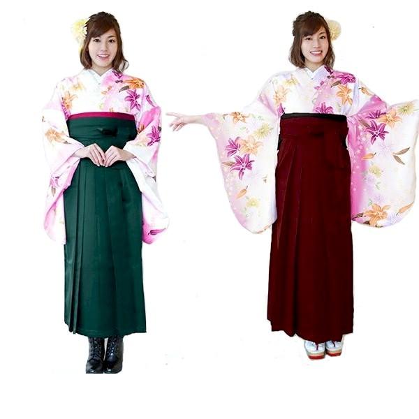 袴レンタル|新作新品|白地ピンク暈し百合柄&刺繍袴No.100-164