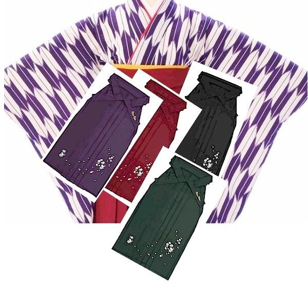 袴レンタル 卒業式袴 矢絣・矢羽根紫二尺袖と刺繍袴 No.100-166