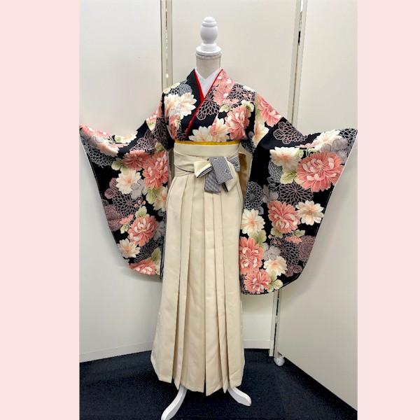 袴レンタル|卒業式袴|黒地|レトロ感|新品|No,100-168|フルセット|No.100-168