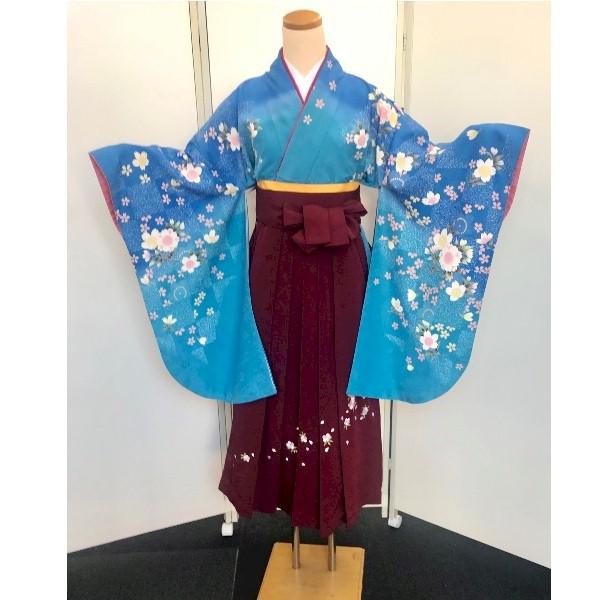水色青地桜柄二尺袖と刺繍袴|No.100-169