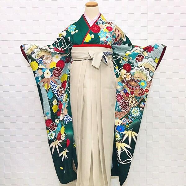 京友禅の緑地振袖・刺繍袴セット100-174