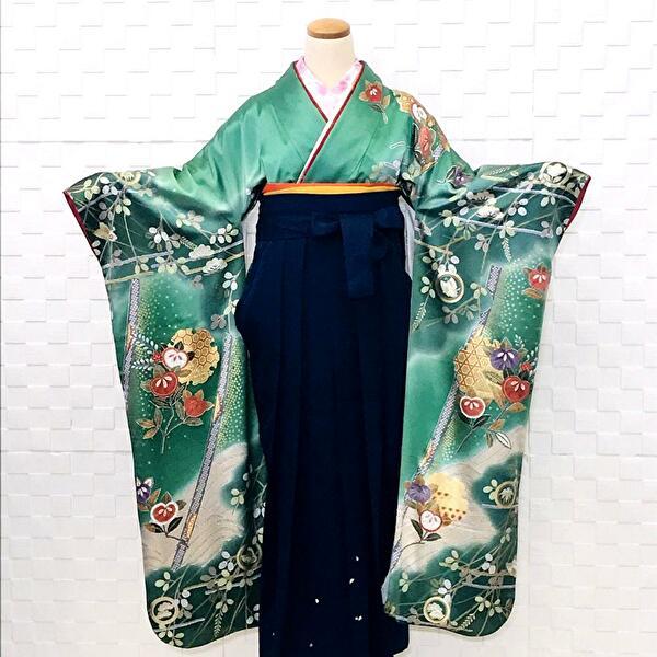袴レンタル 正絹・緑・振袖・古典柄 No.100-176