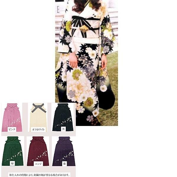 袴レンタル Japanstyle オフホワイト振袖+刺繍袴 No.100-180