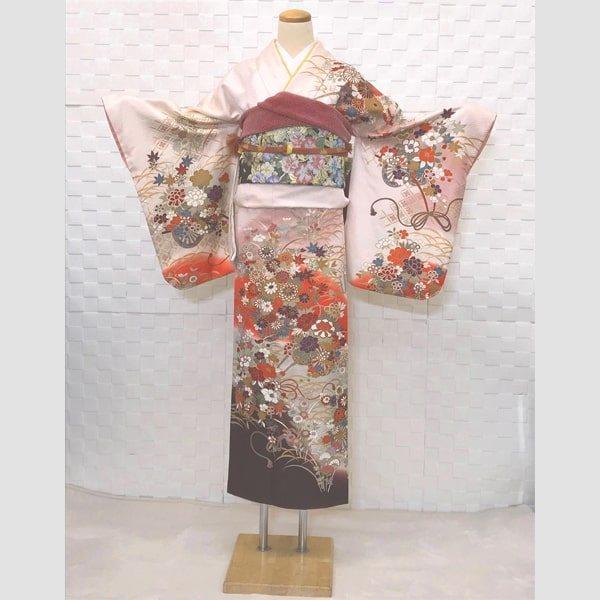 訪問着|肌色が入った薄桜色・ 紋意匠|No.200-60