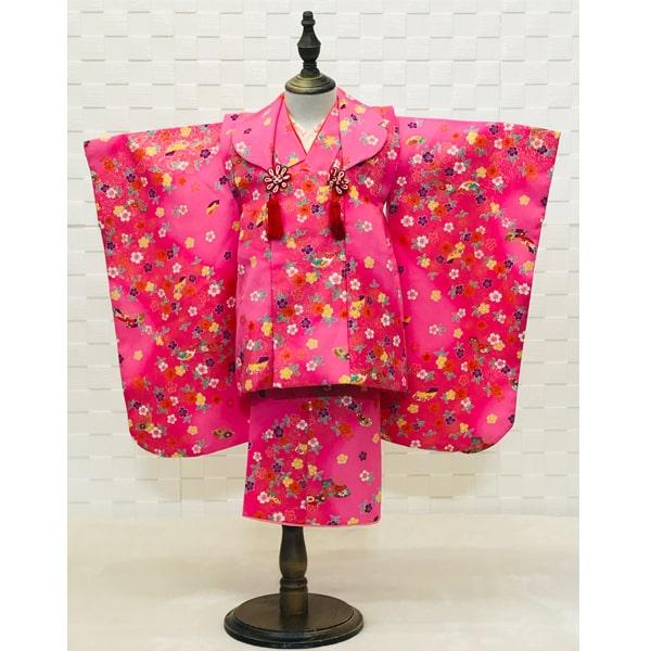 三歳レンタル 綺麗なピンク小花着物&被布