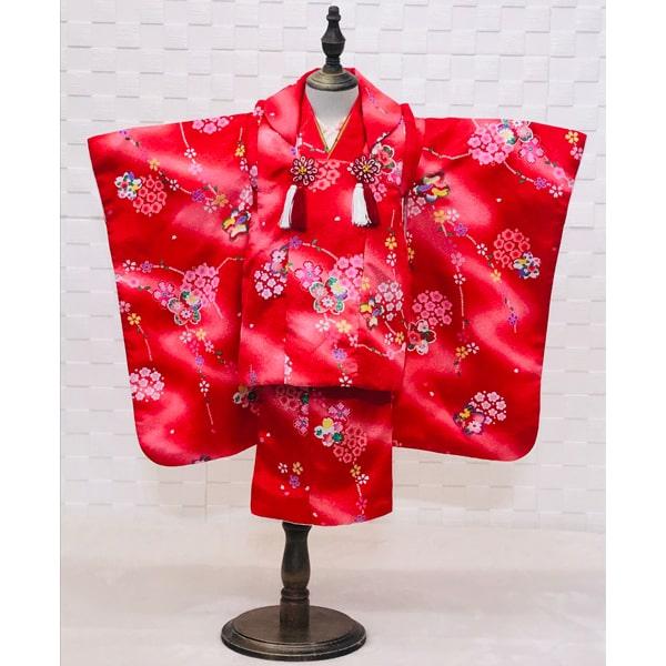 三歳レンタル|赤地花柄かわいい着物&被布|322