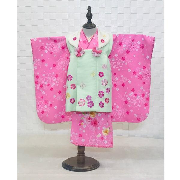 七五三レンタル|三歳|乙葉|ピンク色花刺繍&淡いグリーン色被皮No.338