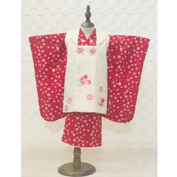 七五三レンタル|三歳|赤小花着物&白刺繍被布|No.341