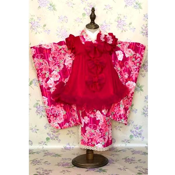 七五三レンタル|三歳|mezopiano|ピンク着物&赤の被布