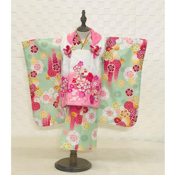 3歳被布セット|鶸色・薄桃暈し桜No.351