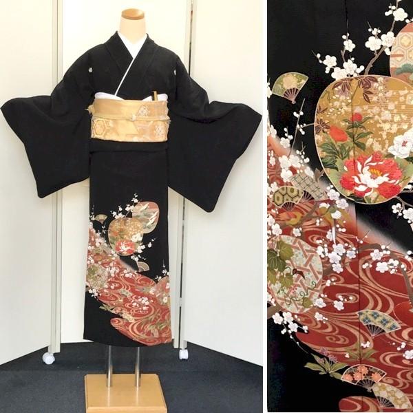 黒留袖|単衣6月・9月|牡丹刺繍・流水・扇子柄No.600-11