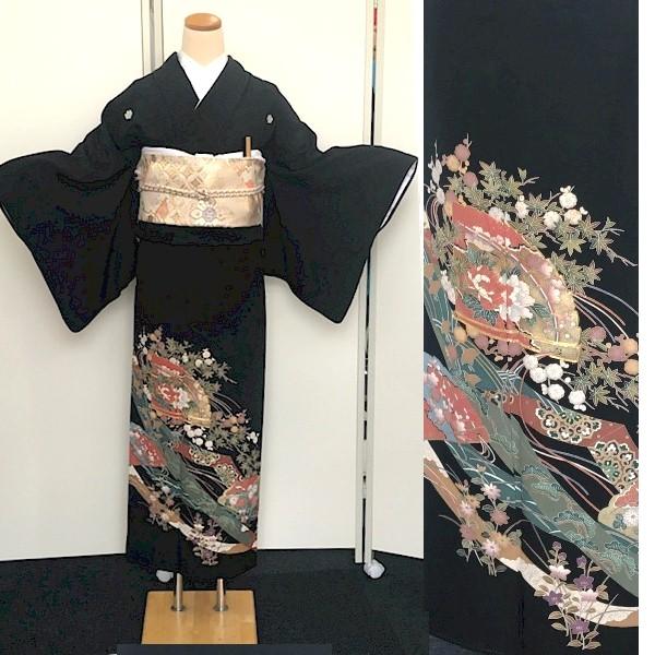 黒留袖レンタル 扇子・四季の花・刺繍No.600-13