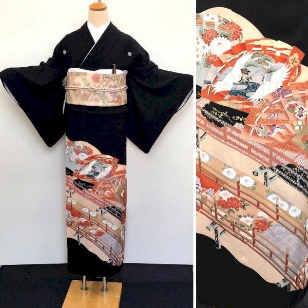 黒留袖レンタル|御所車・四季の花・松・梅・刺繍No.600-14