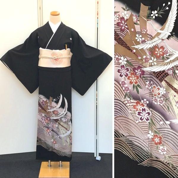 黒留袖レンタル 御所車・四季の花・松・梅・刺繍No.600-14