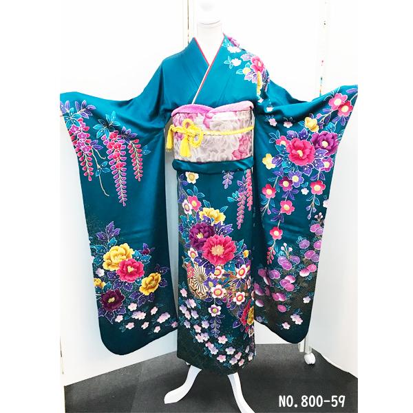 振袖|成人式|正絹|青地・大輪の牡丹・多種花柄No.800-59