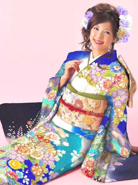 十日町織物|本格友禅・綺麗な水色・青暈し・金糸|No.800-65