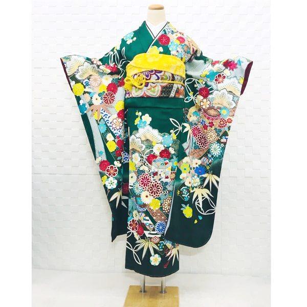 振袖|成人式|京友禅|正絹|濃い緑・花柄|No.800-69