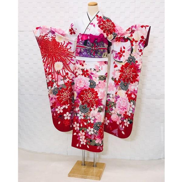 振袖レンタル Japanstyle 白地・赤&淡いピンク牡丹 No.883