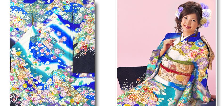 ふりそで|本格手描き友禅|十日町|吉沢織物|青地|No.800-65